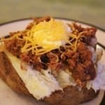 Loaded Baked Potatoes with Tender Salsa Beef